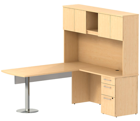 Bush_Bush Realize Series Peninsula L-Desk with Glass Panel, Hutch, and 3 Drawer Pedestal_Quick Ship / Natural Maple	 - 1