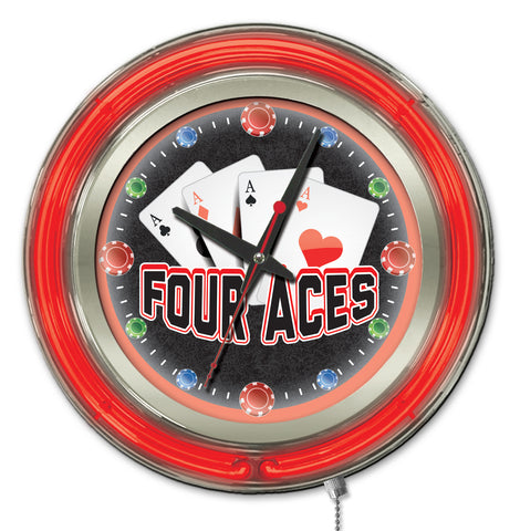 4 Aces Double Neon Ring, 15 inch Logo Clock by Holland Bar Stool Company; UPC: 071235365356