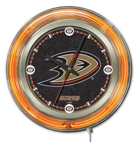 Anaheim Ducks Double Neon Ring, 15in dia Logo Clock by Holland Bar Stool Company; UPC: 071235361211