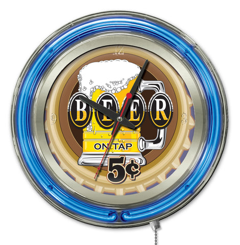 Beer 5 Cents Double Neon Ring, 15 inch Logo Clock by Holland Bar Stool Company; UPC: 071235365363