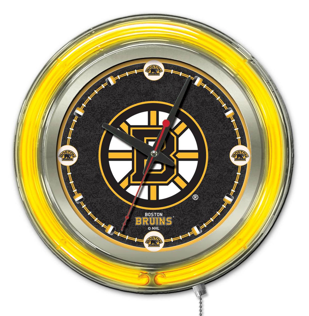 Boston Bruins Double Neon Ring, 15in dia Logo Clock by Holland Bar Stool Company; UPC: 071235361228