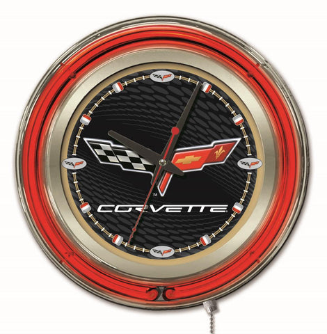 Corvette (Black & Gold) Double Neon Ring, 15in dia Logo Clock by Holland Bar Stool Company; UPC: 071235361631