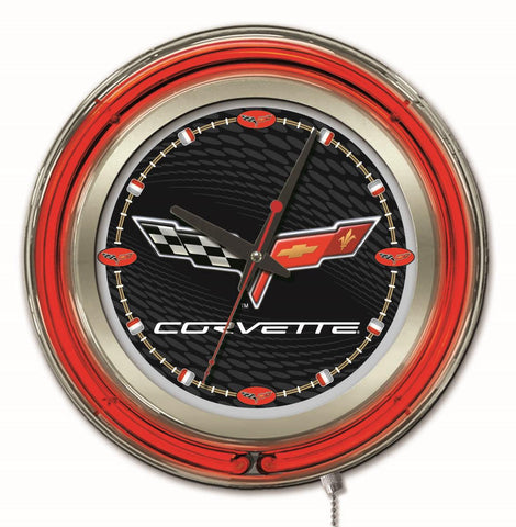 Corvette (Black & Silver) Double Neon Ring, 15in dia Logo Clock by Holland Bar Stool Company; UPC: 071235361624