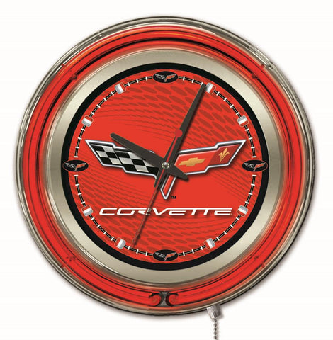 Corvette (Red & Black) Double Neon Ring, 15in dia Logo Clock by Holland Bar Stool Company; UPC: 071235361679