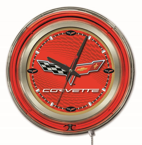 Corvette (Red & Gold) Double Neon Ring, 15in dia Logo Clock by Holland Bar Stool Company; UPC: 071235361662