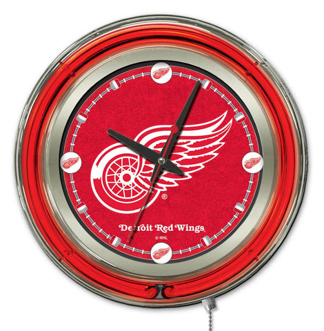 Detroit Red Wings Double Neon Ring, 15in dia Logo Clock by Holland Bar Stool Company; UPC: 071235361303