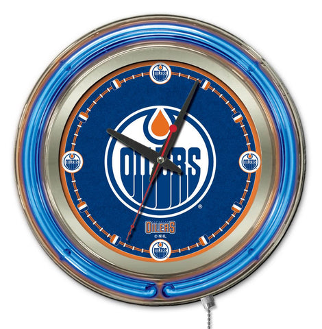Edmonton Oilers Double Neon Ring, 15in dia Logo Clock by Holland Bar Stool Company; UPC: 071235361310