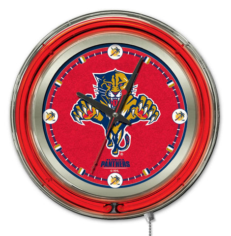 Florida Panthers Double Neon Ring, 15in dia Logo Clock by Holland Bar Stool Company; UPC: 071235361327