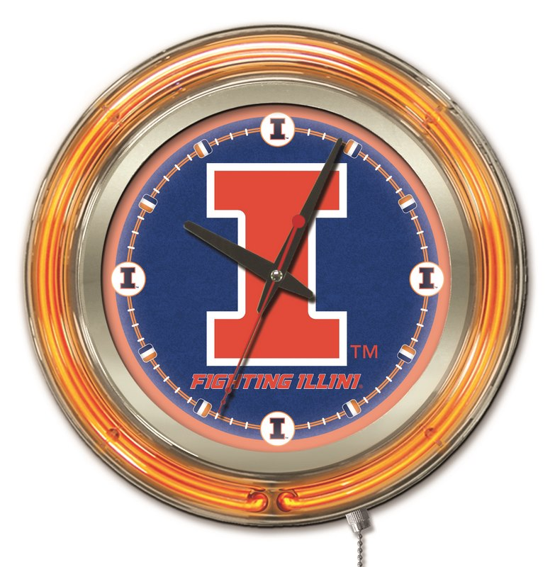 "Illinois Double Neon Ring, 15"" dia. Logo Clock by Holland Bar Stool Company; UPC: 071235360627"