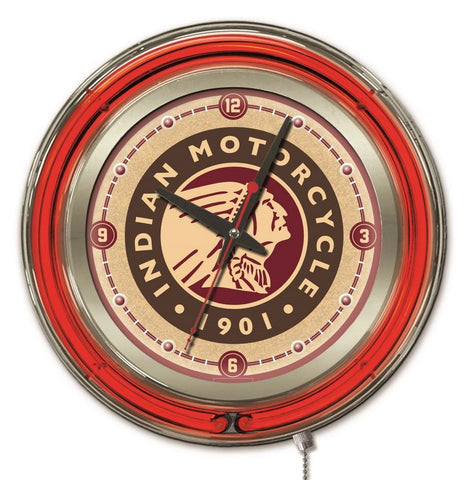 Indian Motorcycle Double Neon Ring, 15 inch Logo Clock by Holland Bar Stool Company; UPC: 071235365509