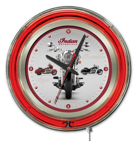 Indian Motorcycle Multi-Bike Double Neon Ring, 15 inch Logo Clock by Holland Bar Stool Company; UPC: 071235365523
