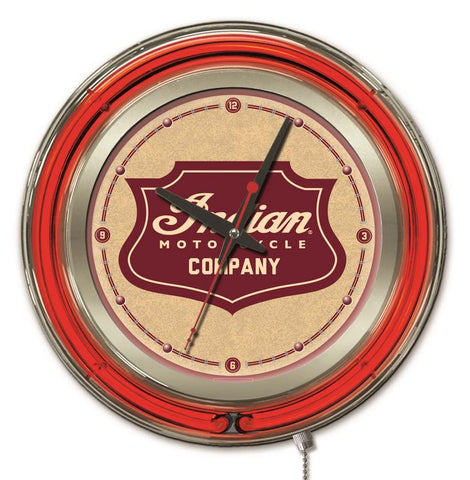 Indian Motorcycle Shield Double Neon Ring, 15 inch Logo Clock by Holland Bar Stool Company; UPC: 071235365530