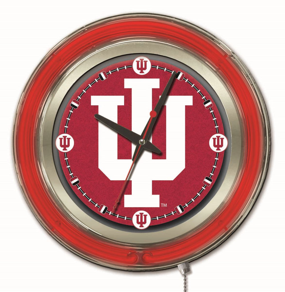 "Indiana Double Neon Ring, 15"" dia. Logo Clock by Holland Bar Stool Company; UPC: 071235360184"