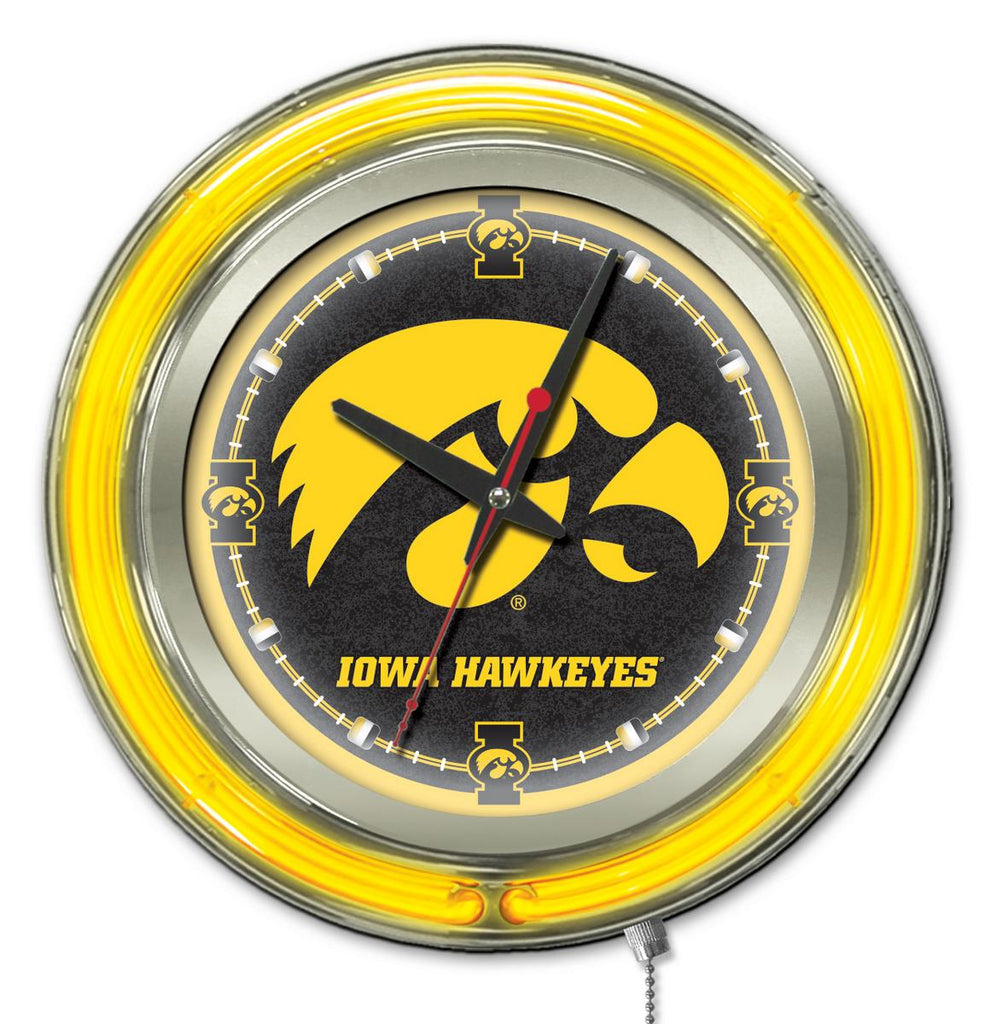 "Iowa Double Neon Ring, 15"" dia. Logo Clock by Holland Bar Stool Company; UPC: 071235360634"