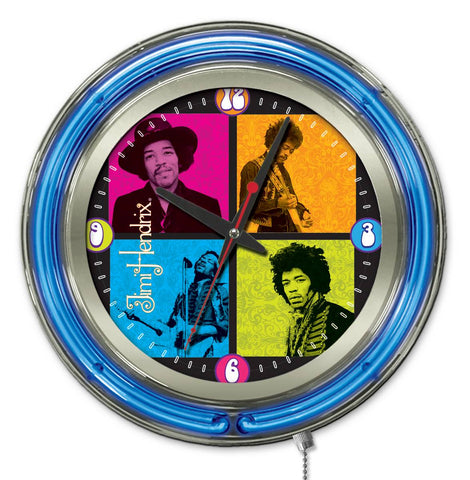Jimi Hendrix  15 inch Neon Clock with 4 Square Design by Holland Bar Stool Company; UPC: 071235365677