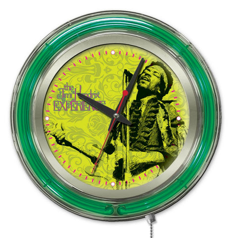 Jimi Hendrix  15 inch Neon Clock with Microphone & Guitar design by Holland Bar Stool Company; UPC: 071235365684