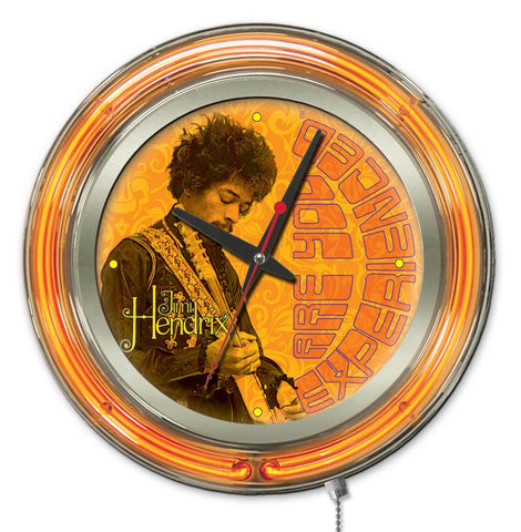Jimi Hendrix  15 inch Neon Clock with Guitar design by Holland Bar Stool Company; UPC: 071235365707