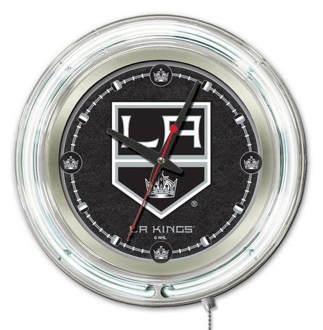 Los Angeles Kings Double Neon Ring, 15in dia Logo Clock by Holland Bar Stool Company; UPC: 071235361334