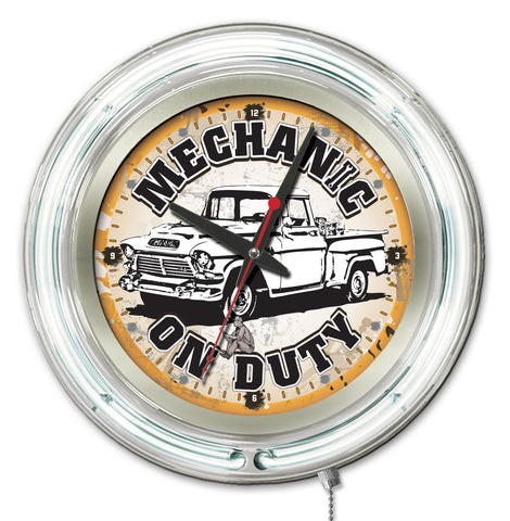 Mechanic on Duty Double Neon Ring, 15 inch Logo Clock by Holland Bar Stool Company; UPC: 071235365387