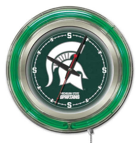 "Michigan State Double Neon Ring, 15"" dia. Logo Clock by Holland Bar Stool Company; UPC: 071235360269"