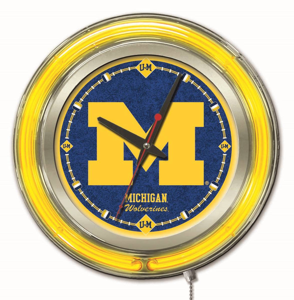 "Michigan Double Neon Ring, 15"" dia. Logo Clock by Holland Bar Stool Company; UPC: 071235360733"