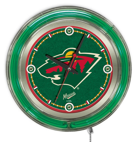 Minnesota Wild Double Neon Ring, 15in dia Logo Clock by Holland Bar Stool Company; UPC: 071235361341