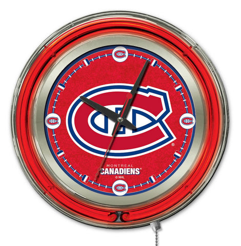 Montreal Canadiens Double Neon Ring, 15in dia Logo Clock by Holland Bar Stool Company; UPC: 071235361358