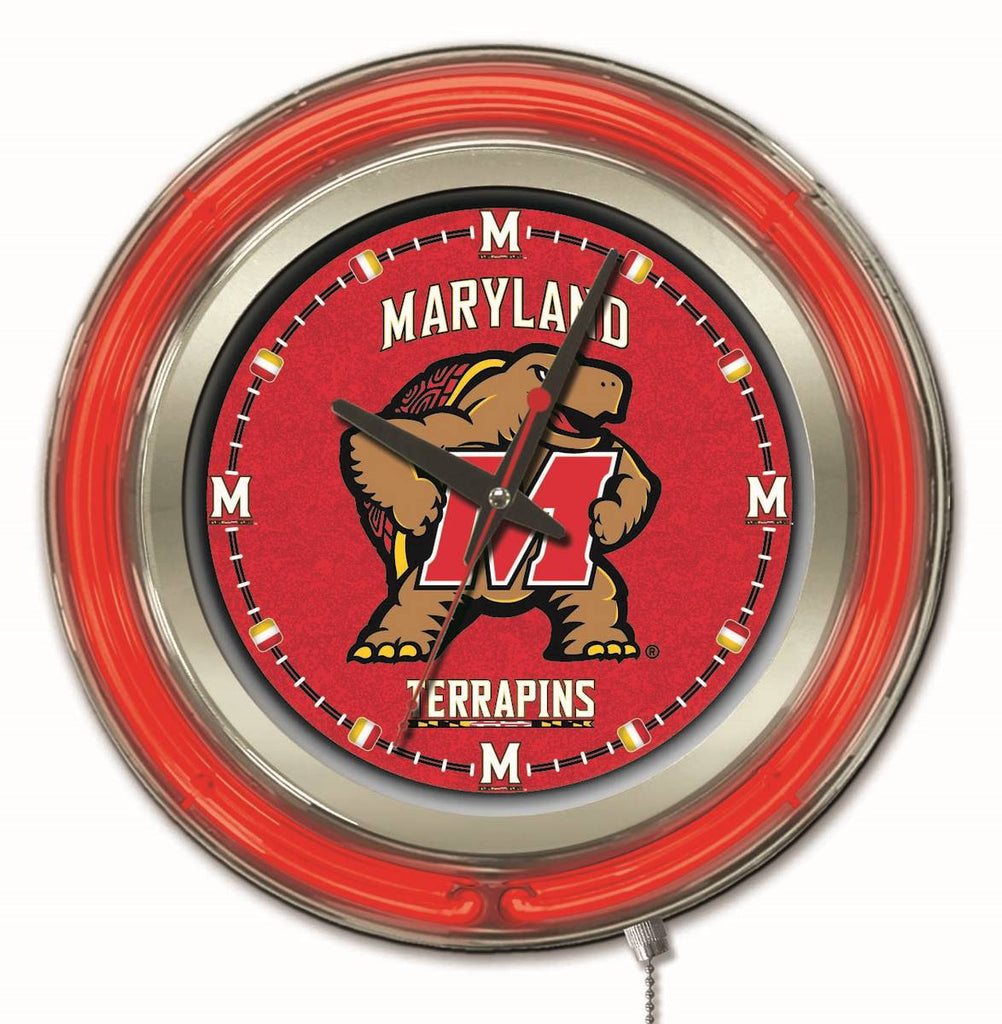 "Maryland Double Neon Ring, 15"" dia. Logo Clock by Holland Bar Stool Company; UPC: 071235360702"