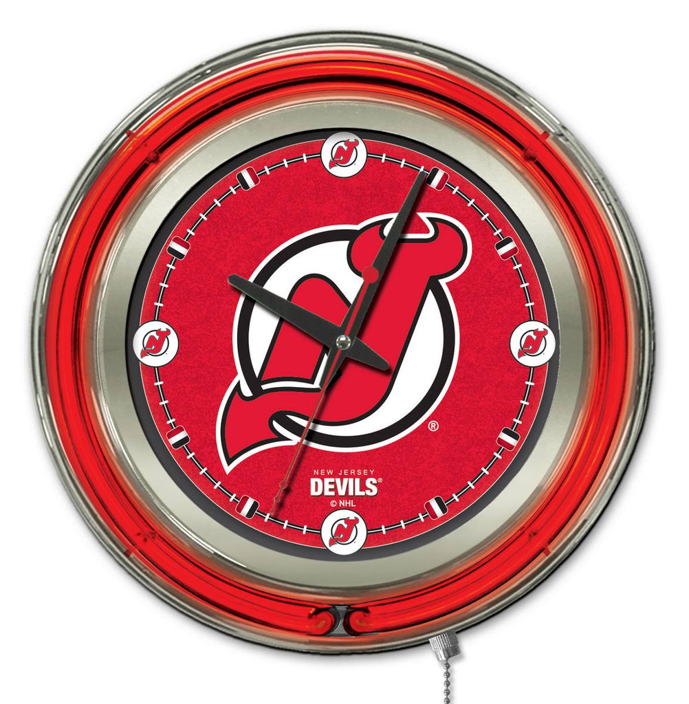 New Jersey Devils Double Neon Ring, 15in dia Logo Clock by Holland Bar Stool Company; UPC: 071235361372