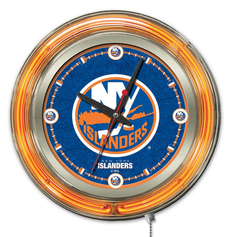 New York Islanders Double Neon Ring, 15in dia Logo Clock by Holland Bar Stool Company; UPC: 071235361389