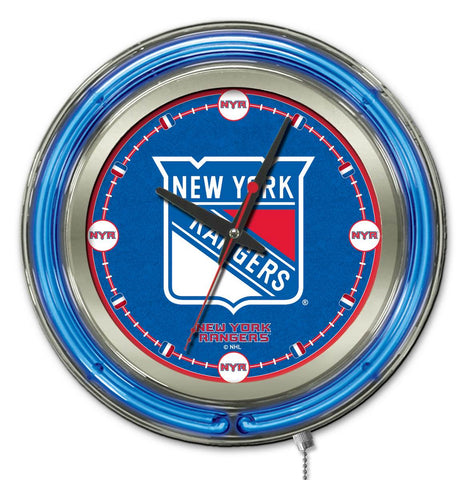New York Rangers Double Neon Ring, 15in dia Logo Clock by Holland Bar Stool Company; UPC: 071235361396