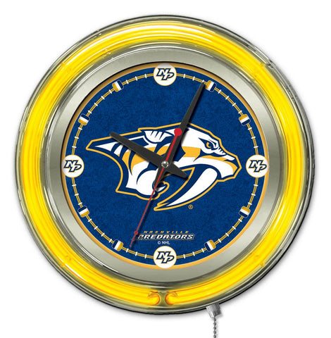 Nashville Predators Double Neon Ring, 15in dia Logo Clock by Holland Bar Stool Company; UPC: 071235361365