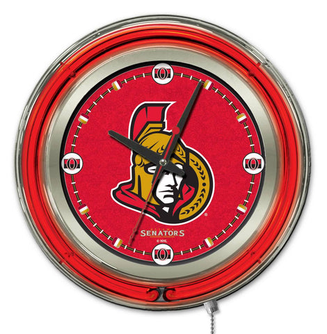 Ottawa Senators Double Neon Ring, 15in dia Logo Clock by Holland Bar Stool Company; UPC: 071235361402