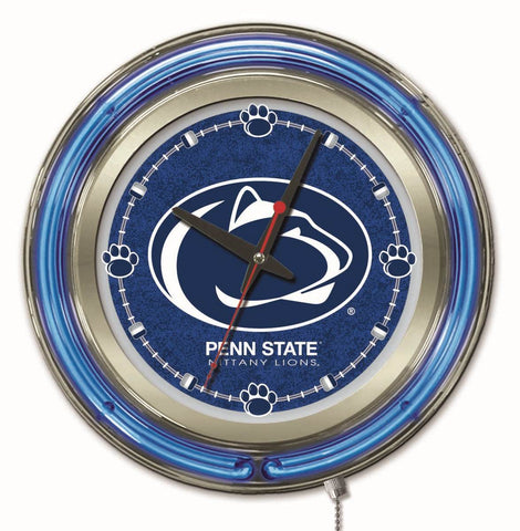 "Penn State Double Neon Ring, 15"" dia. Logo Clock by Holland Bar Stool Company; UPC: 071235360399"