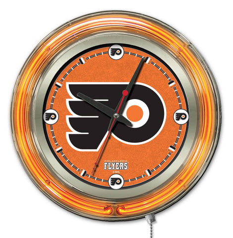 Philadelphia Flyers Double Neon Ring, 15in dia Logo Clock by Holland Bar Stool Company; UPC: 071235361419