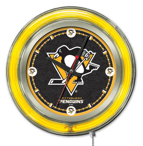 Pittsburgh Penguins Double Neon Ring, 15in dia Logo Clock by Holland Bar Stool Company; UPC: 071235361433