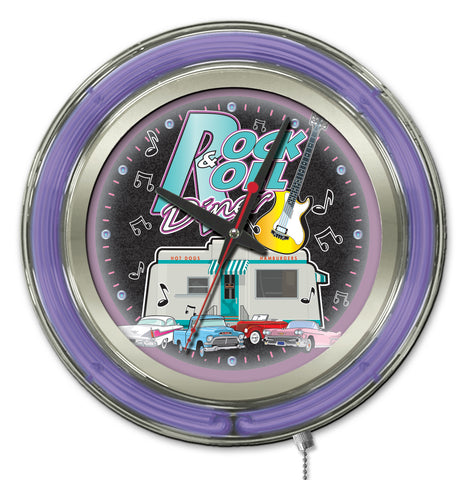 Rock & Roll Diner Double Neon Ring, 15 inch Logo Clock by Holland Bar Stool Company; UPC: 071235365417