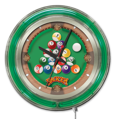 Rack Em Double Neon Ring, 15 inch Logo Clock by Holland Bar Stool Company; UPC: 071235365394