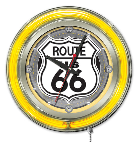 Route 66 Double Neon Ring, 15 inch Logo Clock by Holland Bar Stool Company; UPC: 071235365400