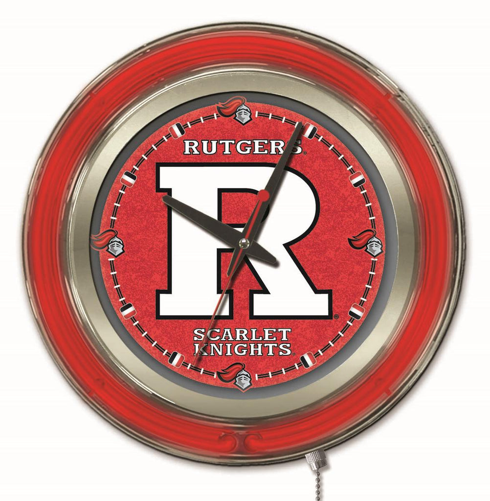 "Rutgers Double Neon Ring, 15"" dia. Logo Clock by Holland Bar Stool Company; UPC: 071235360412"