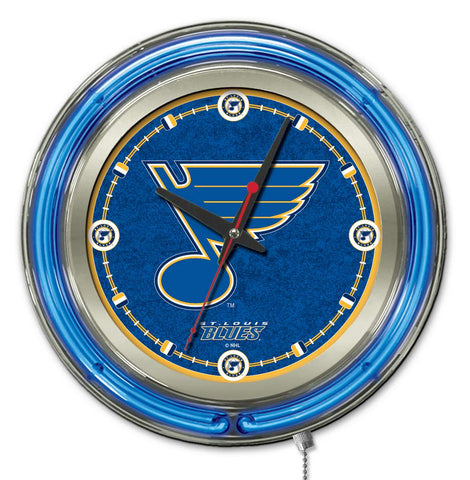 St Louis Blues Double Neon Ring, 15in dia Logo Clock by Holland Bar Stool Company; UPC: 071235361457
