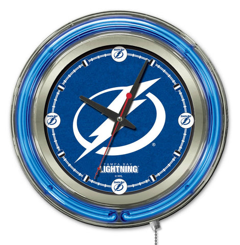 Tampa Bay Lightning Double Neon Ring, 15in dia Logo Clock by Holland Bar Stool Company; UPC: 071235361464