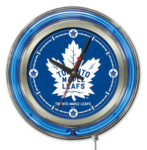 Toronto Maple Leafs Double Neon Ring, 15in dia Logo Clock by Holland Bar Stool Company; UPC: 071235361471