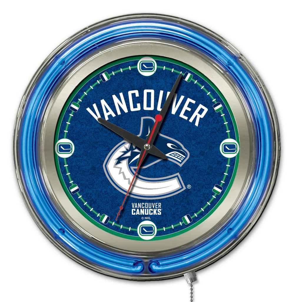 Vancouver Canucks Double Neon Ring, 15in dia Logo Clock by Holland Bar Stool Company; UPC: 071235361488