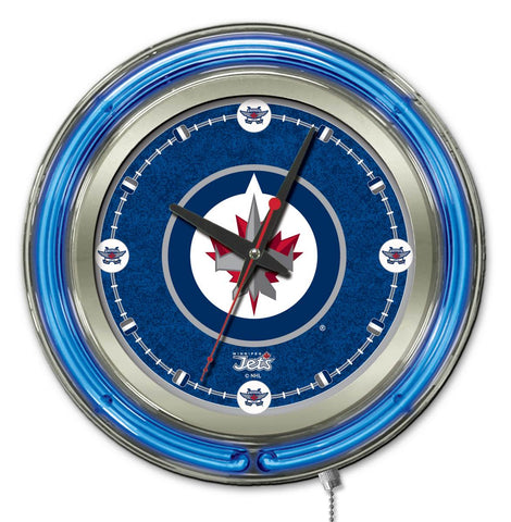 Winnipeg Jets Double Neon Ring, 15in dia Logo Clock by Holland Bar Stool Company; UPC: 071235361501