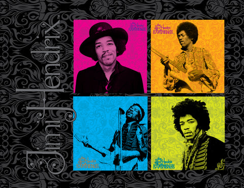 Jimi Hendrix (4 Square Design) 12 x 16 Printed Canvas by Holland Bar Stool Company; UPC: 071235437794