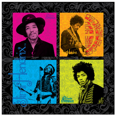 Jimi Hendrix (4 Square Design) 24 x 24 Printed Canvas by Holland Bar Stool Company; UPC: 071235437848