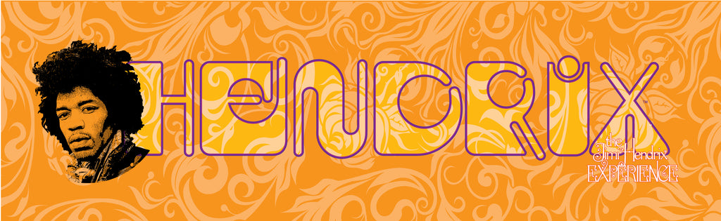 Jimi Hendrix (HENDRIX on Orange) 24 x 6 Printed Canvas by Holland Bar Stool Company; UPC: 071235438111