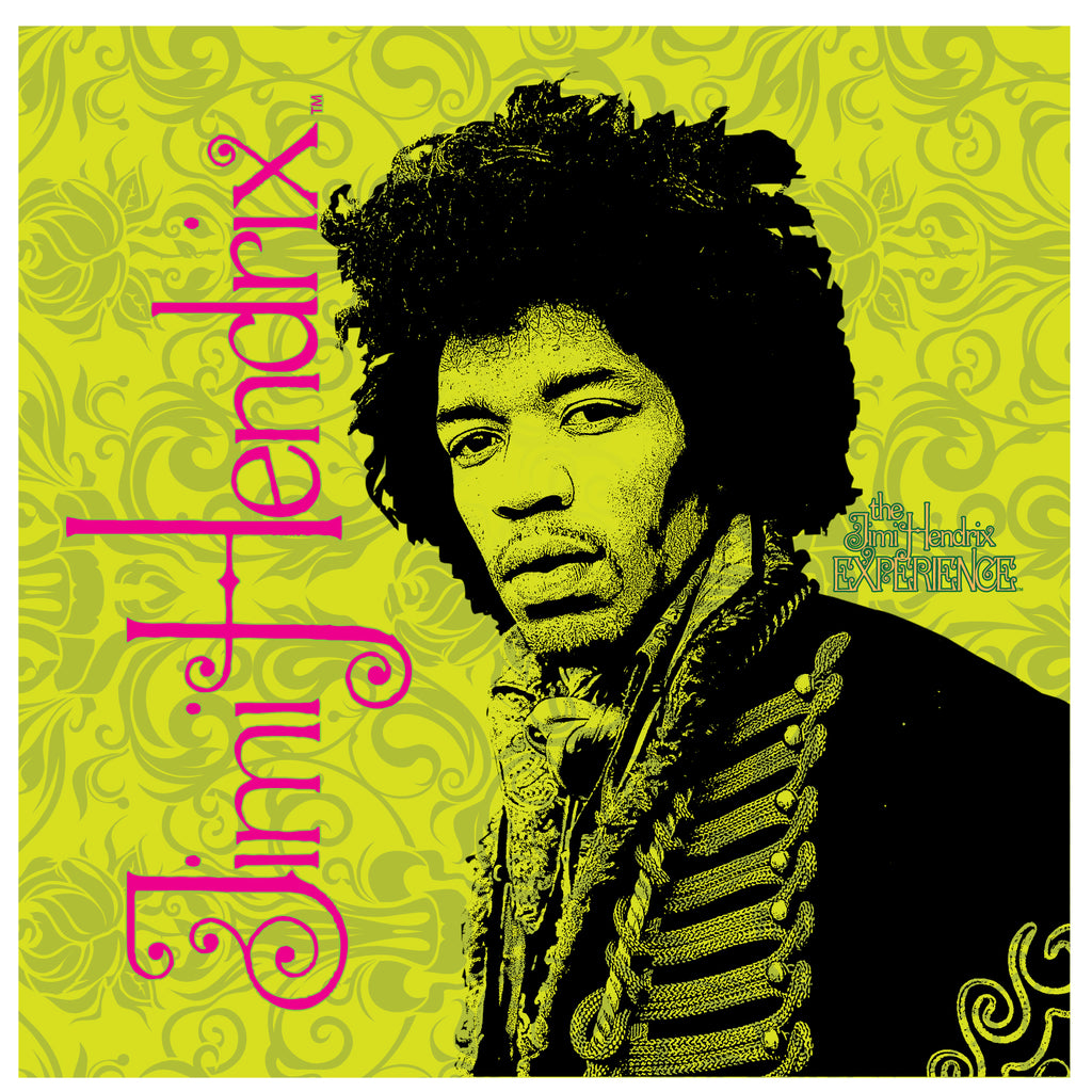 Jimi Hendrix (Jimi on Green) 24 x 24 Printed Canvas by Holland Bar Stool Company; UPC: 071235438029