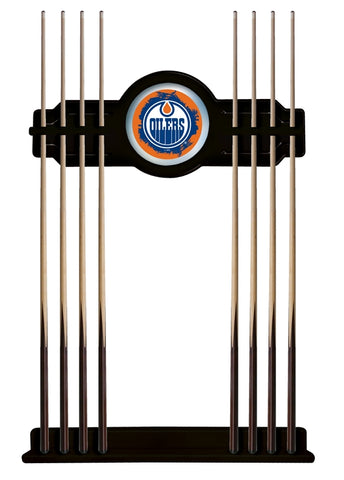 Edmonton Oilers Cue Rack in Black Finish by Holland Bar Stool; UPC: 071235436018